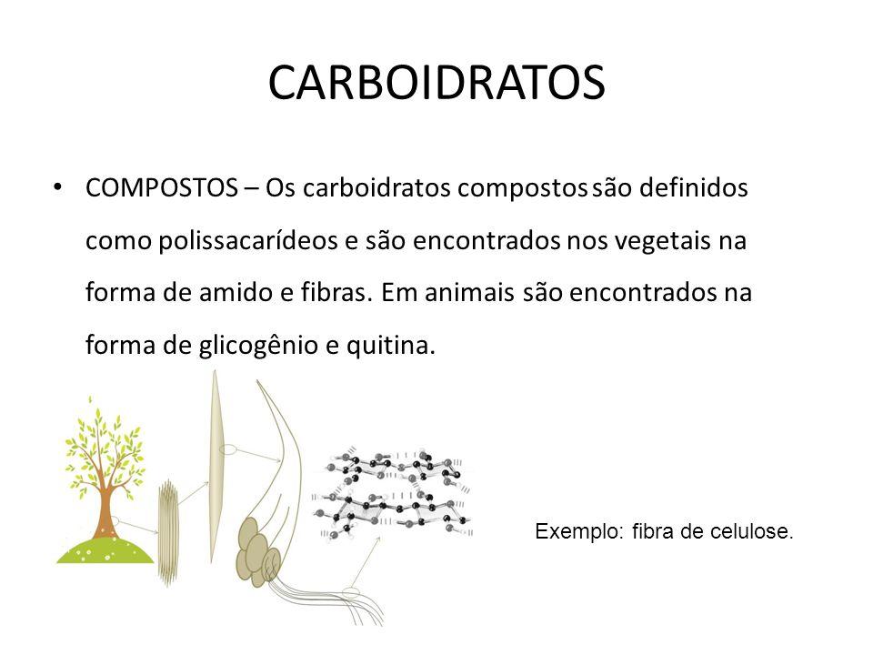 COMPOSTOS – Os carboidratos compostos são definidos como polissacarídeos e são encontrados nos vegetais na forma de amido e fibras. Em animais são enc
