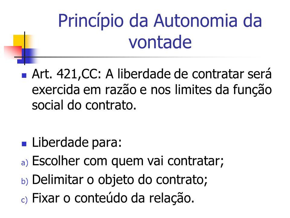 Princípio da Autonomia da vontade Art. 421,CC: A liberdade de contratar será exercida em razão e nos limites da função social do contrato. Liberdade p