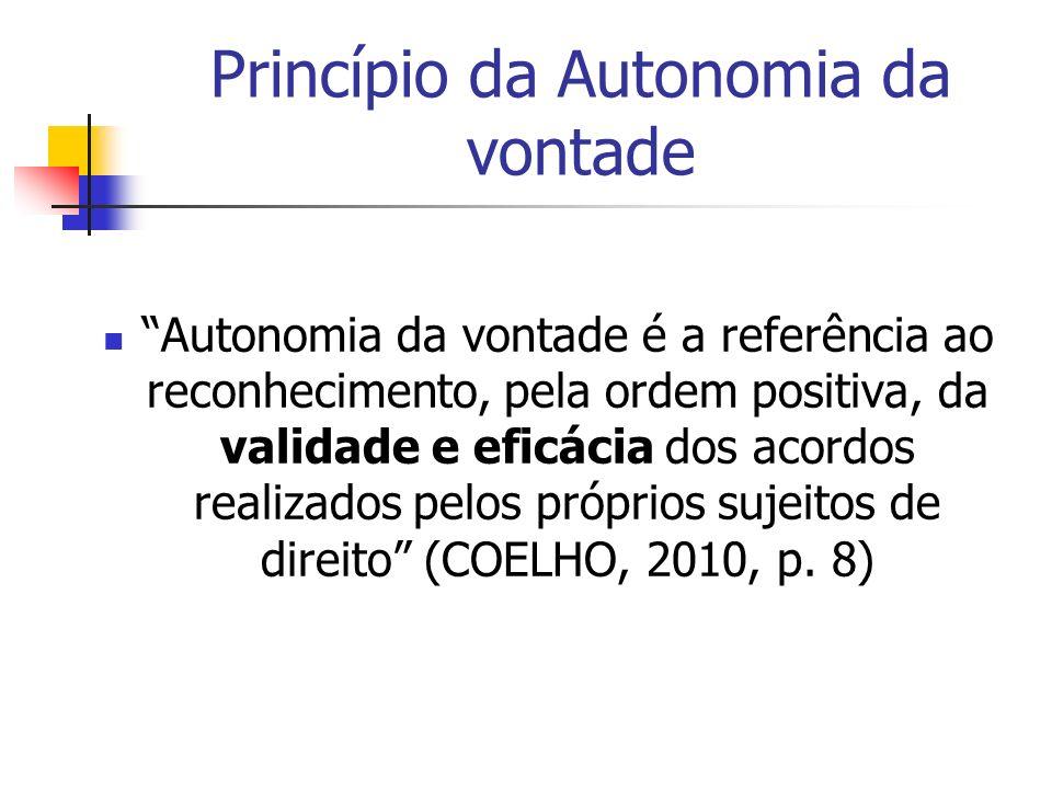 Princípio da Autonomia da vontade Autonomia da vontade é a referência ao reconhecimento, pela ordem positiva, da validade e eficácia dos acordos reali