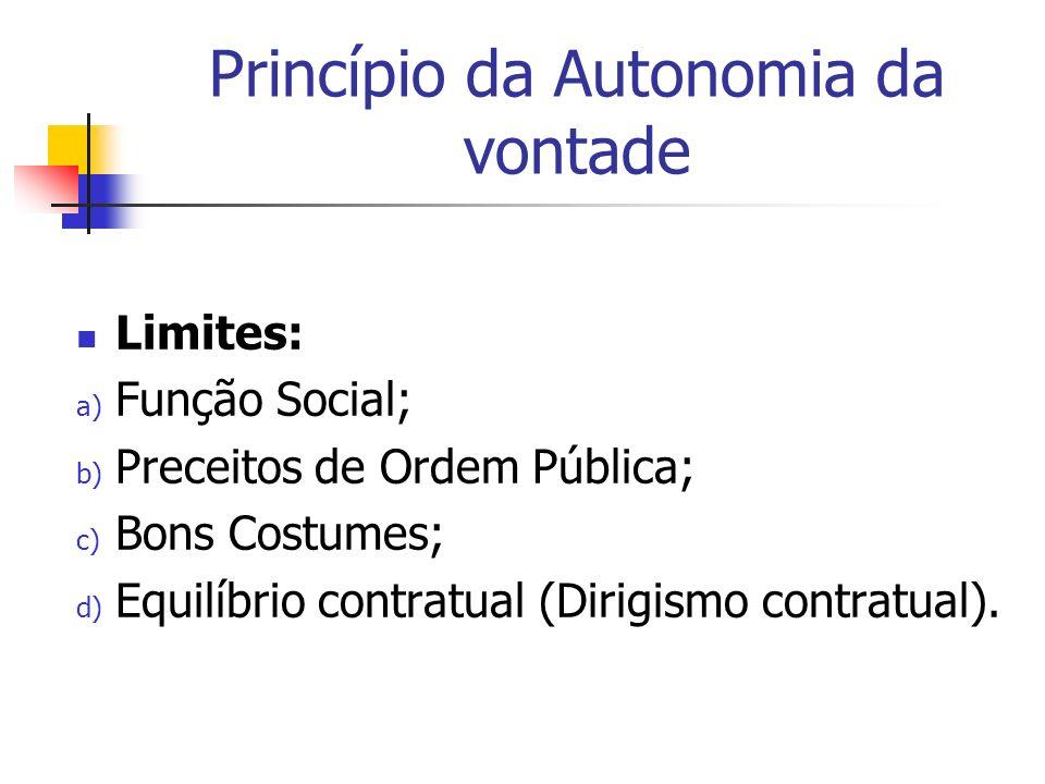 Princípio da Autonomia da vontade Limites: a) Função Social; b) Preceitos de Ordem Pública; c) Bons Costumes; d) Equilíbrio contratual (Dirigismo cont