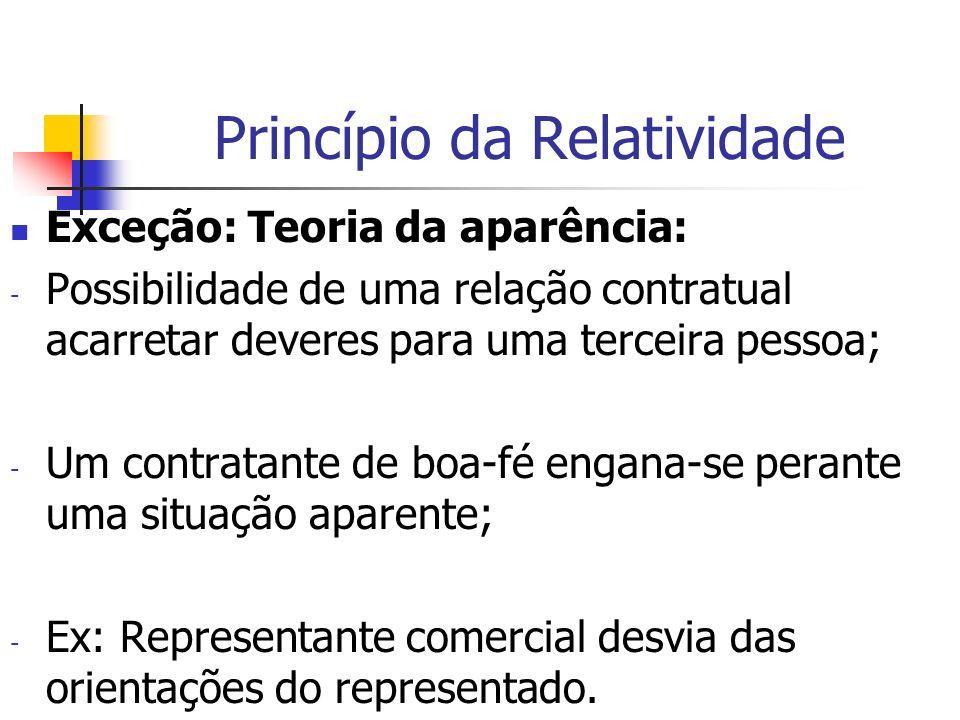 Princípio da Relatividade Exceção: Teoria da aparência: - Possibilidade de uma relação contratual acarretar deveres para uma terceira pessoa; - Um con