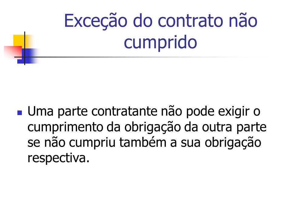 Exceção do contrato não cumprido Uma parte contratante não pode exigir o cumprimento da obrigação da outra parte se não cumpriu também a sua obrigação
