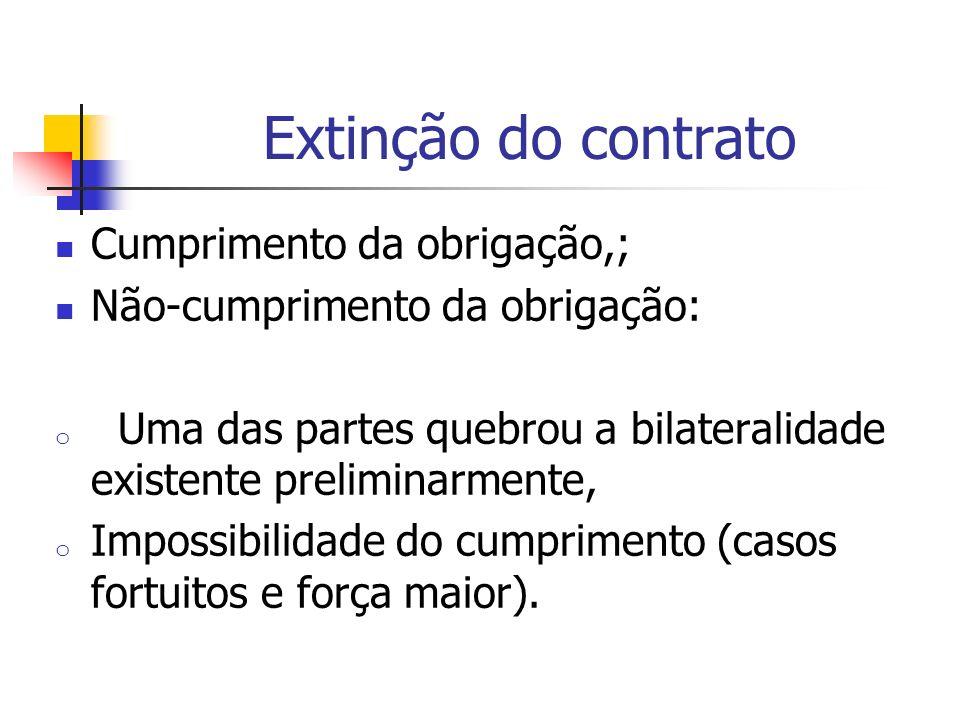 Extinção do contrato Cumprimento da obrigação,; Não-cumprimento da obrigação: o Uma das partes quebrou a bilateralidade existente preliminarmente, o I