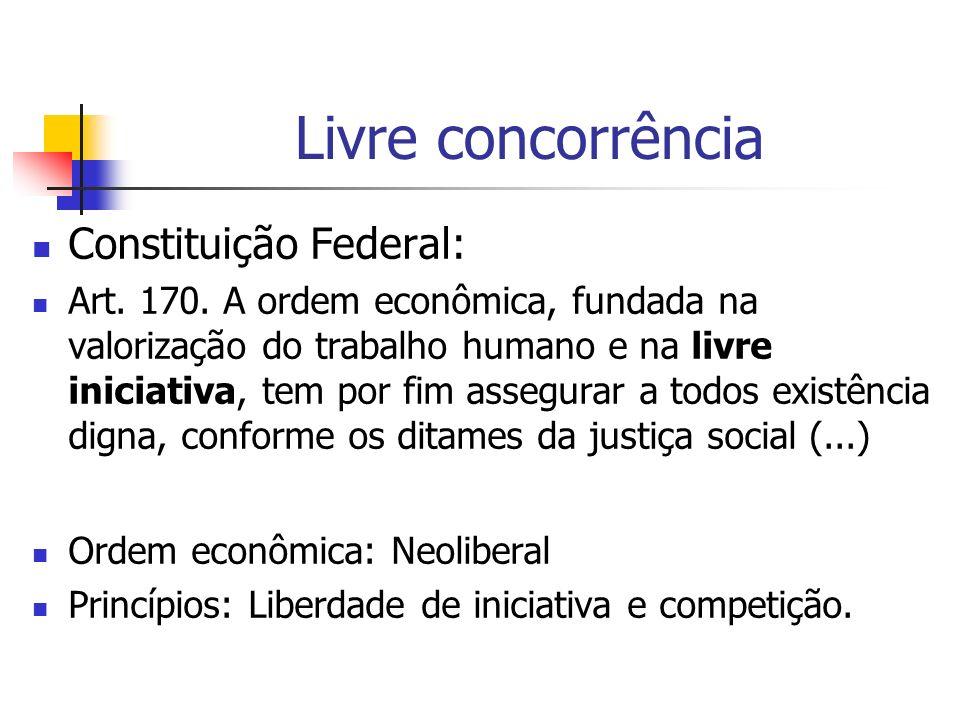 Livre concorrência Constituição Federal: Art. 170. A ordem econômica, fundada na valorização do trabalho humano e na livre iniciativa, tem por fim ass