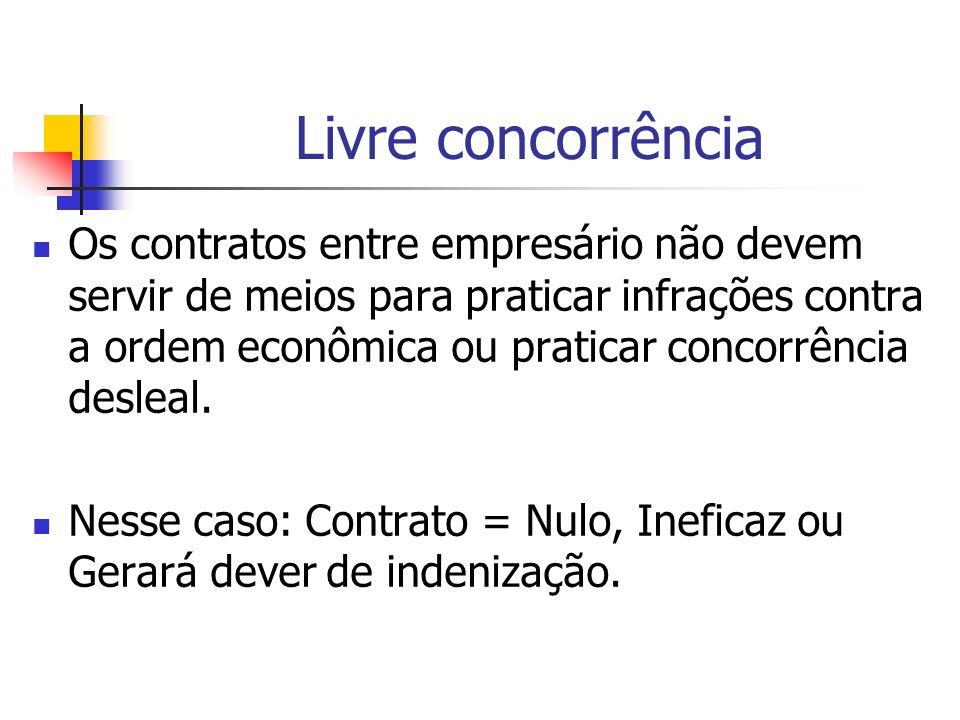 Livre concorrência Os contratos entre empresário não devem servir de meios para praticar infrações contra a ordem econômica ou praticar concorrência d