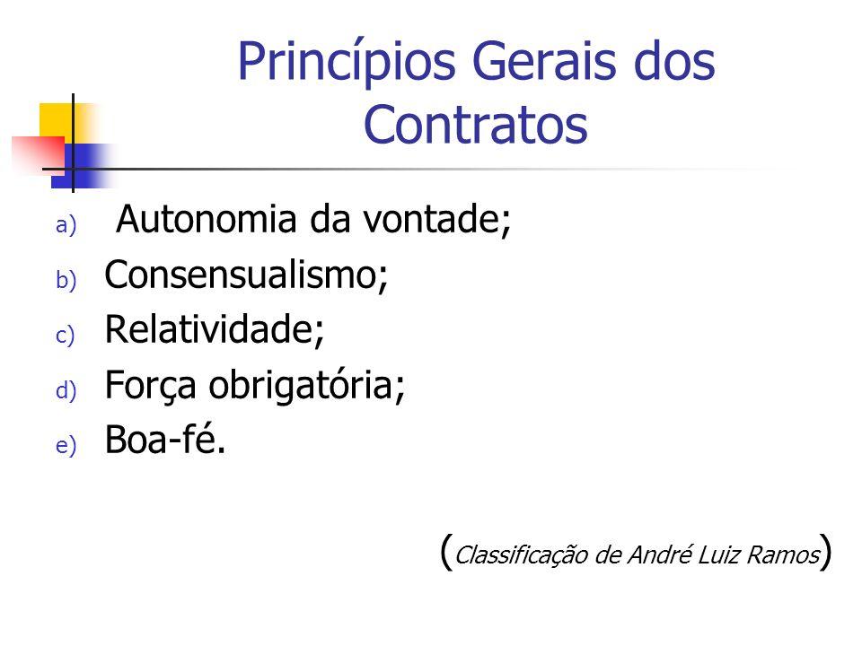 Princípios Gerais dos Contratos a) Autonomia da vontade; b) Consensualismo; c) Relatividade; d) Força obrigatória; e) Boa-fé. ( Classificação de André