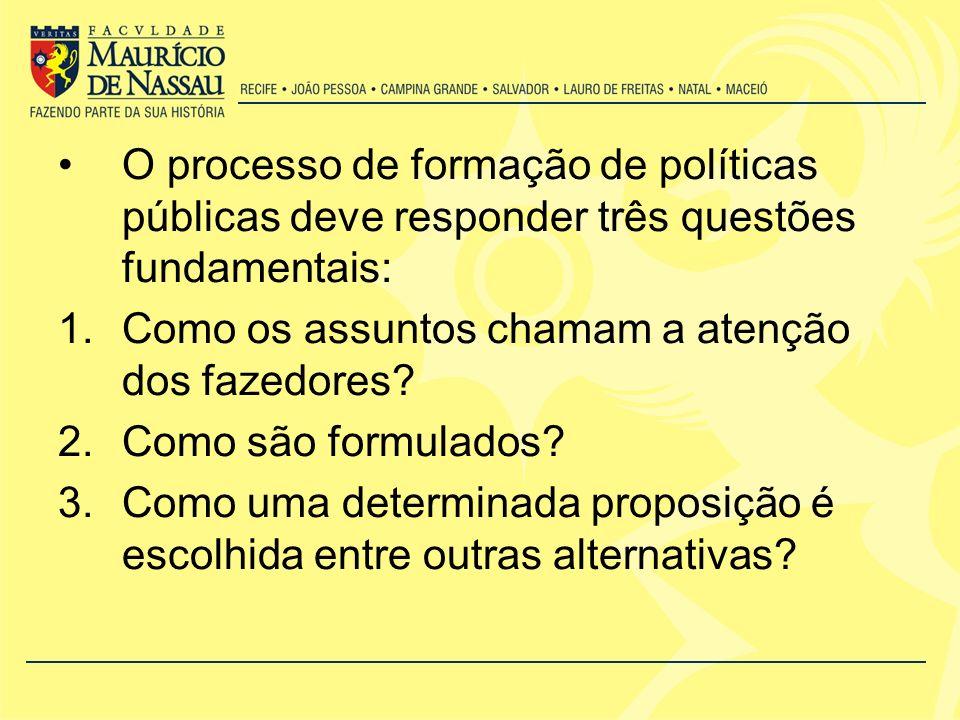 O processo de formação de políticas públicas deve responder três questões fundamentais: 1.Como os assuntos chamam a atenção dos fazedores.