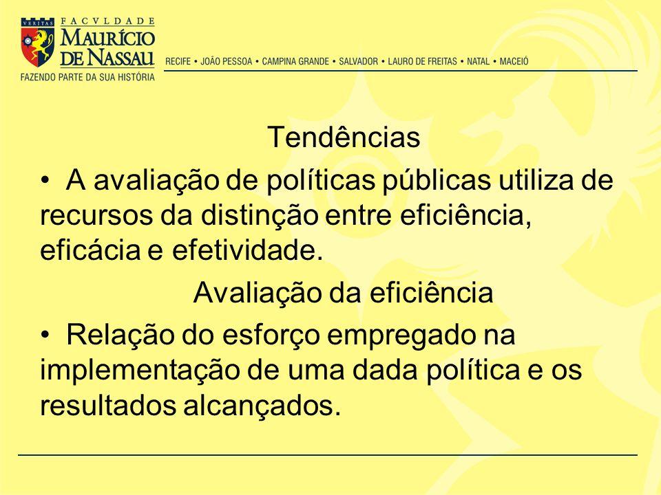 Tendências A avaliação de políticas públicas utiliza de recursos da distinção entre eficiência, eficácia e efetividade.