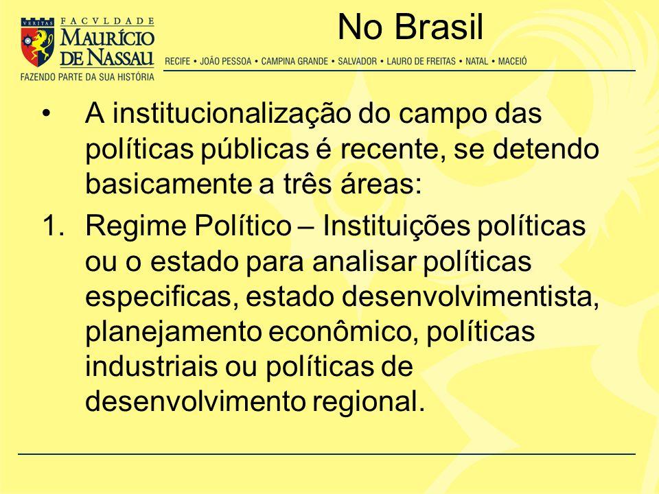 No Brasil 2.Políticas Setoriais – Utiliza a análise do processo político com a análise dos problemas internos, maior dialogo com a sociologia e o debate com a ciência política, principalmente, nas questões ligadas à cidadania e aos processos decisórios.