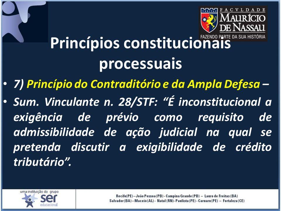 Princípios constitucionais processuais 7) Princípio do Contraditório e da Ampla Defesa – Sum. Vinculante n. 28/STF: É inconstitucional a exigência de