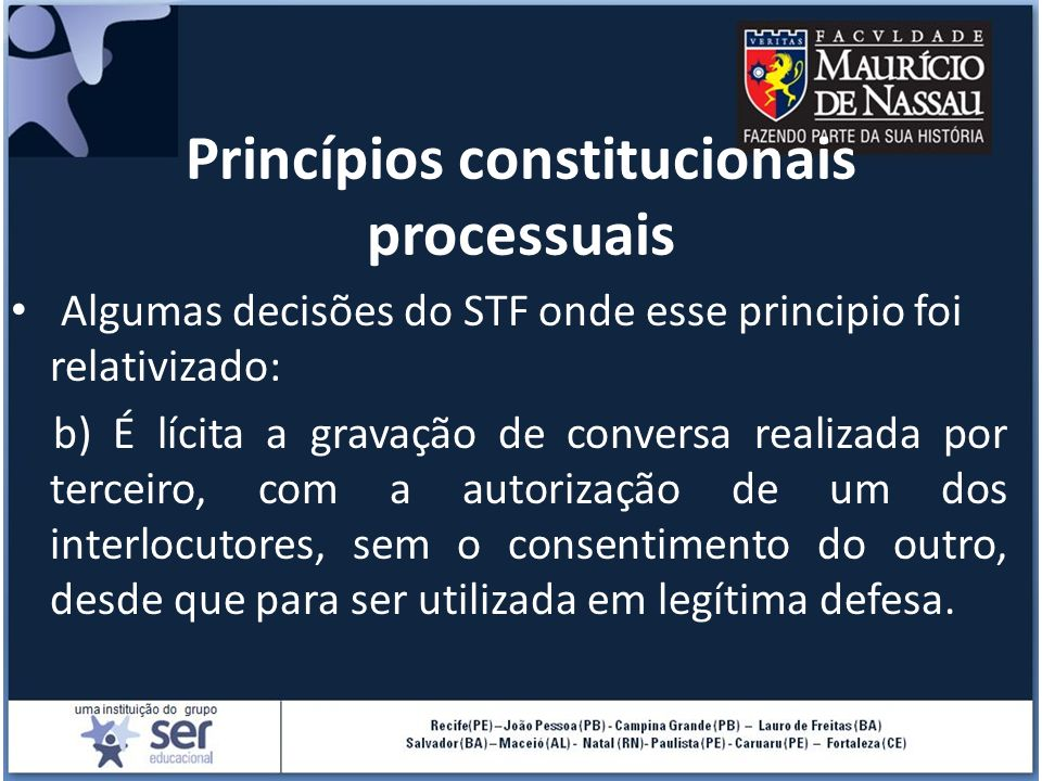 Princípios constitucionais processuais Algumas decisões do STF onde esse principio foi relativizado: b) É lícita a gravação de conversa realizada por