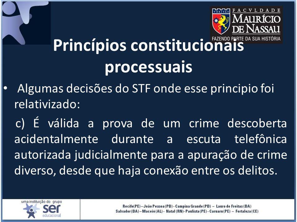 Princípios constitucionais processuais Algumas decisões do STF onde esse principio foi relativizado: c) É válida a prova de um crime descoberta aciden