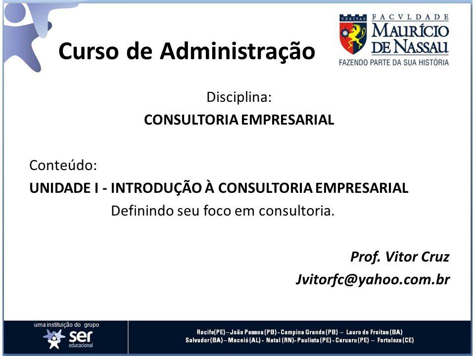 Curso de Administração Disciplina: CONSULTORIA EMPRESARIAL Conteúdo: UNIDADE I - INTRODUÇÃO À CONSULTORIA EMPRESARIAL Definindo seu foco em consultori