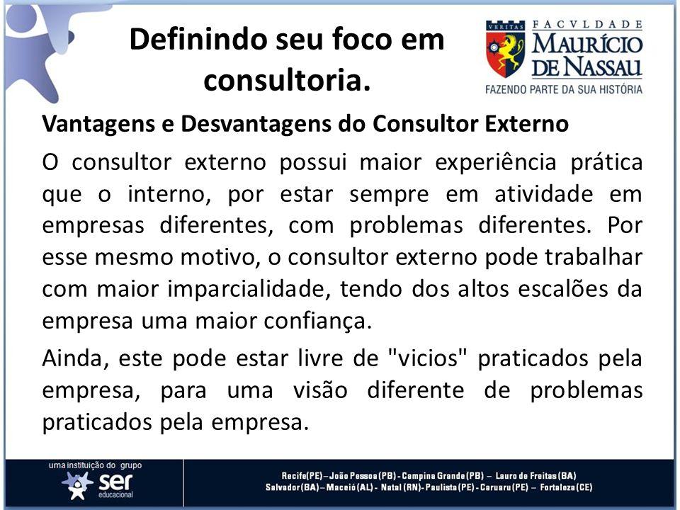 Vantagens e Desvantagens do Consultor Externo O consultor externo possui maior experiência prática que o interno, por estar sempre em atividade em emp