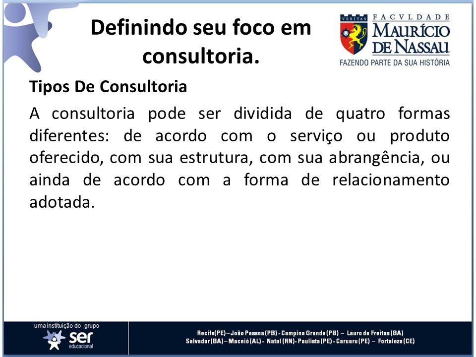Tipos De Consultoria A consultoria pode ser dividida de quatro formas diferentes: de acordo com o serviço ou produto oferecido, com sua estrutura, com