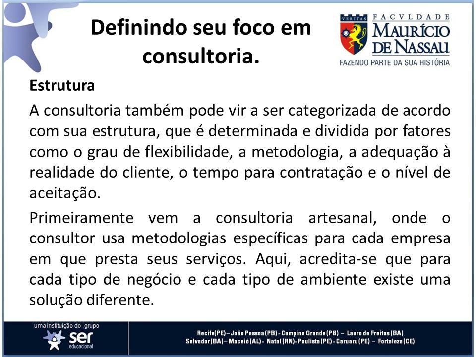 Estrutura A consultoria também pode vir a ser categorizada de acordo com sua estrutura, que é determinada e dividida por fatores como o grau de flexib