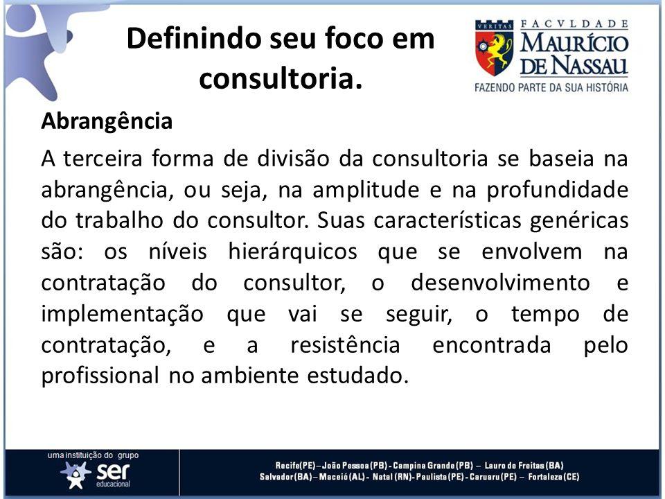 Abrangência A terceira forma de divisão da consultoria se baseia na abrangência, ou seja, na amplitude e na profundidade do trabalho do consultor. Sua