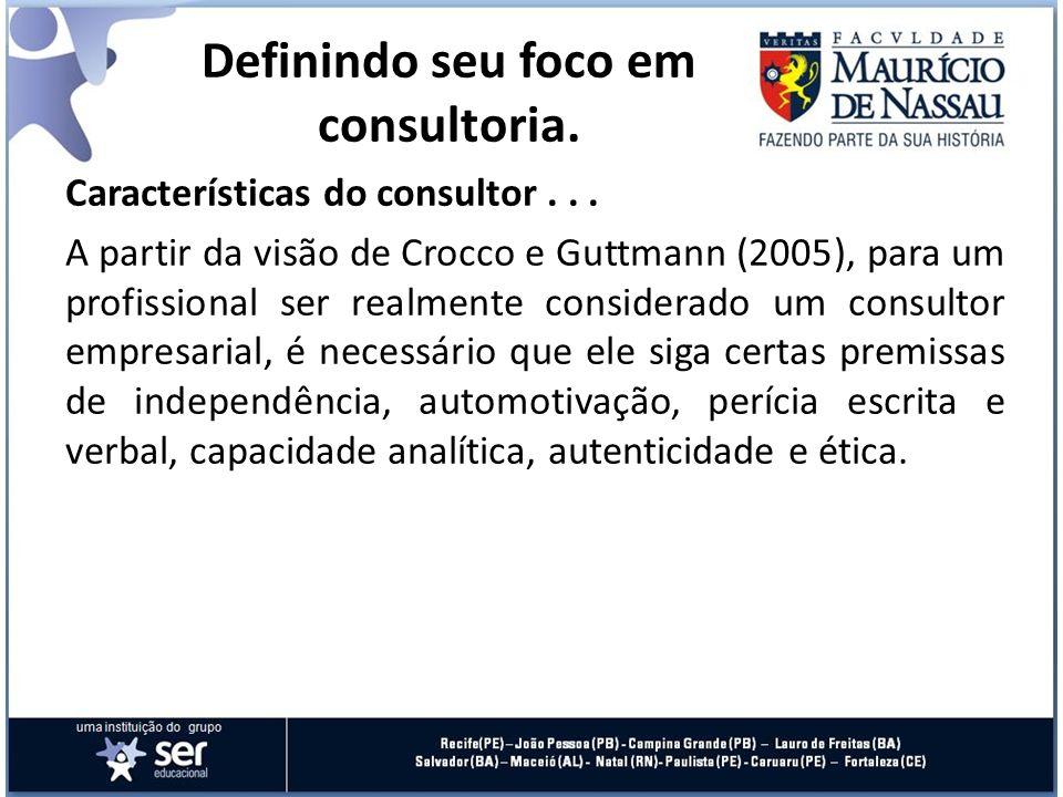Características do consultor... A partir da visão de Crocco e Guttmann (2005), para um profissional ser realmente considerado um consultor empresarial