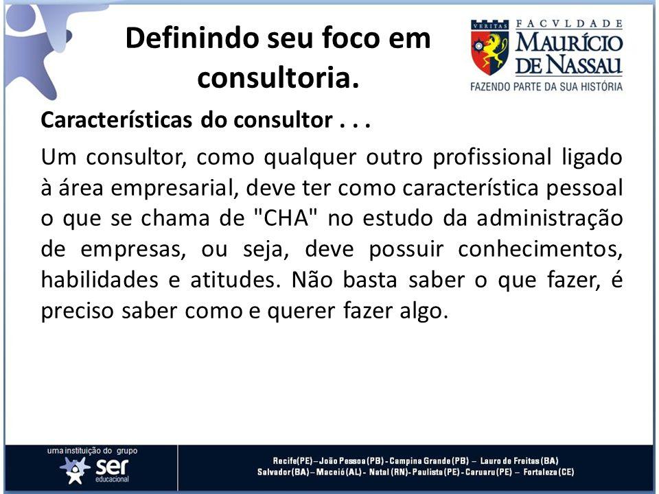 Características do consultor... Um consultor, como qualquer outro profissional ligado à área empresarial, deve ter como característica pessoal o que s