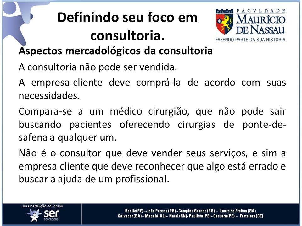 Aspectos mercadológicos da consultoria A consultoria não pode ser vendida. A empresa-cliente deve comprá-la de acordo com suas necessidades. Compara-s