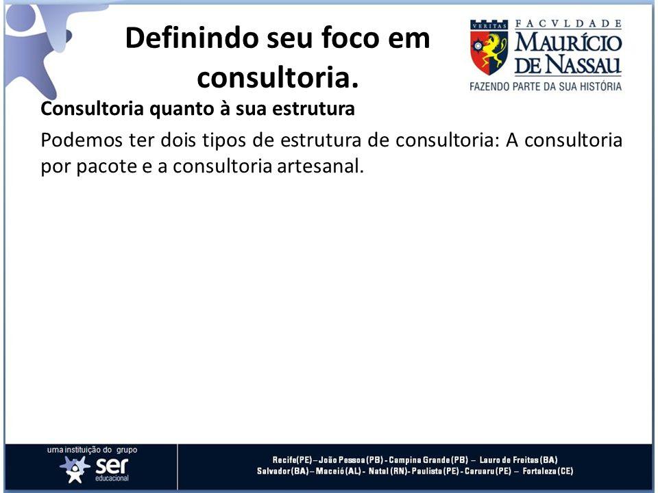 Consultoria quanto à sua estrutura Podemos ter dois tipos de estrutura de consultoria: A consultoria por pacote e a consultoria artesanal. Definindo s