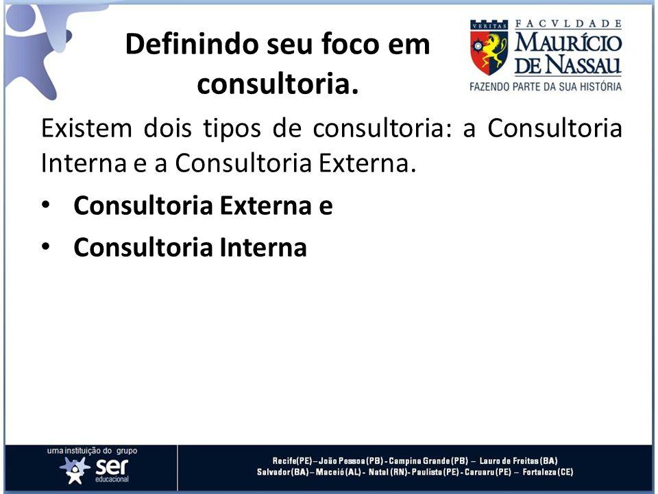 Existem dois tipos de consultoria: a Consultoria Interna e a Consultoria Externa. Consultoria Externa e Consultoria Interna Definindo seu foco em cons