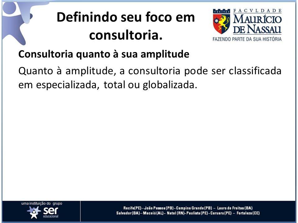 Consultoria quanto à sua amplitude Quanto à amplitude, a consultoria pode ser classificada em especializada, total ou globalizada. Definindo seu foco