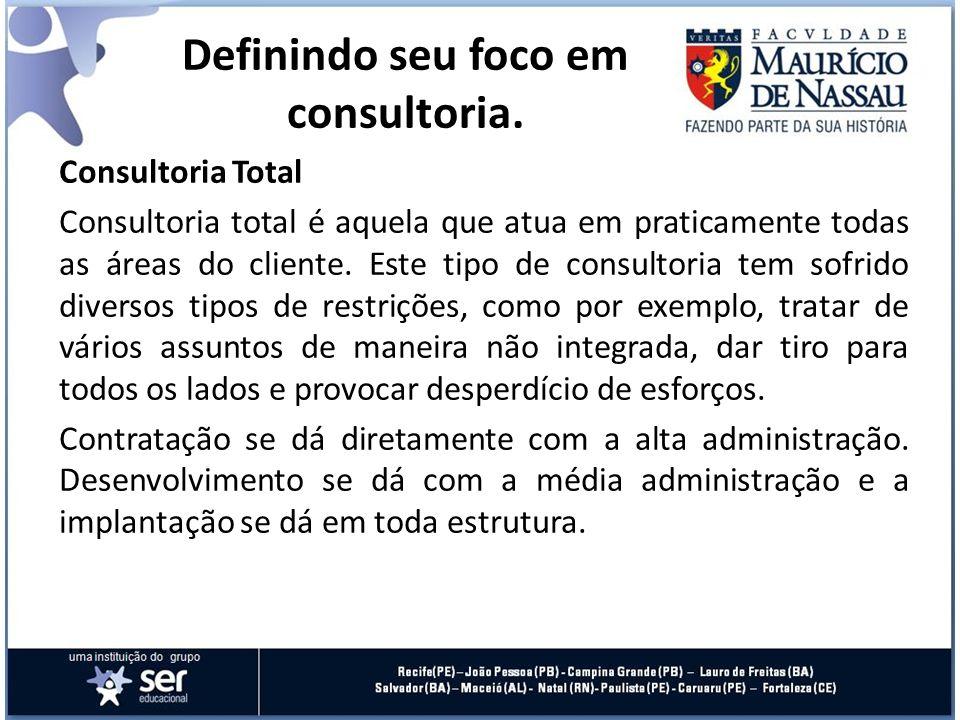 Consultoria Total Consultoria total é aquela que atua em praticamente todas as áreas do cliente. Este tipo de consultoria tem sofrido diversos tipos d