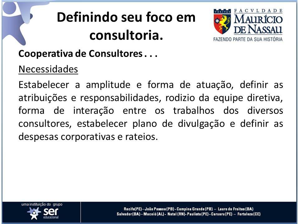 Cooperativa de Consultores... Necessidades Estabelecer a amplitude e forma de atuação, definir as atribuições e responsabilidades, rodizio da equipe d