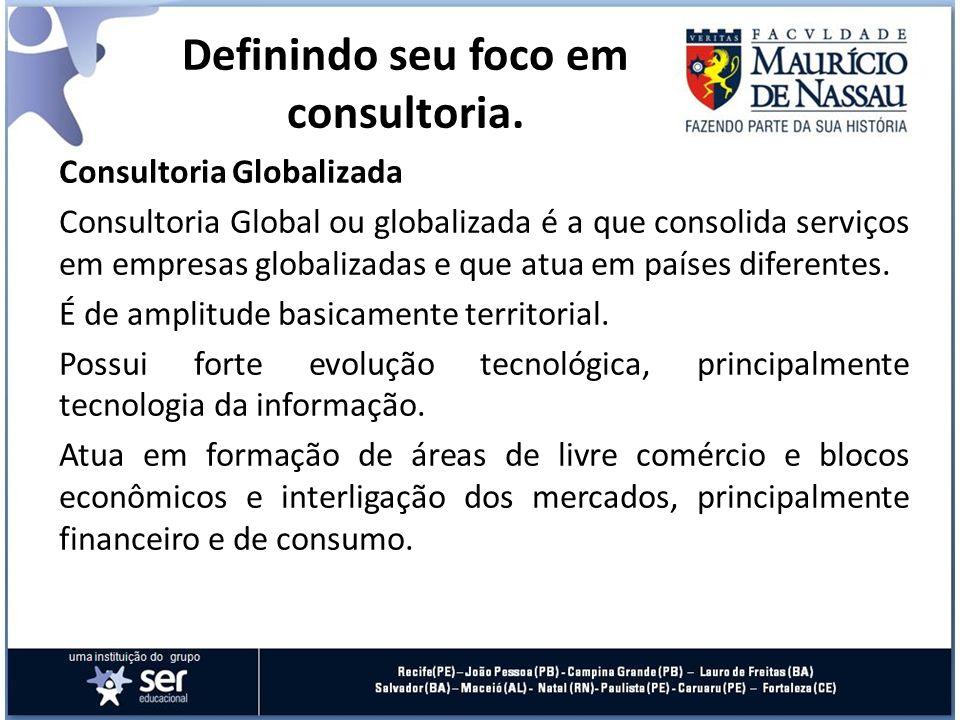 Consultoria Globalizada Consultoria Global ou globalizada é a que consolida serviços em empresas globalizadas e que atua em países diferentes. É de am