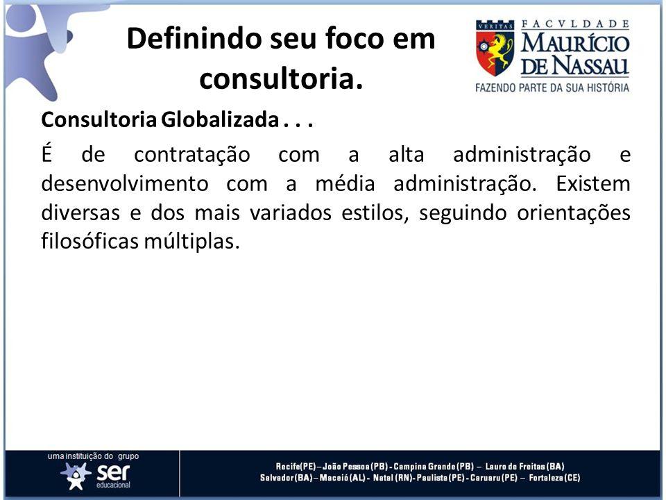 Consultoria Globalizada... É de contratação com a alta administração e desenvolvimento com a média administração. Existem diversas e dos mais variados