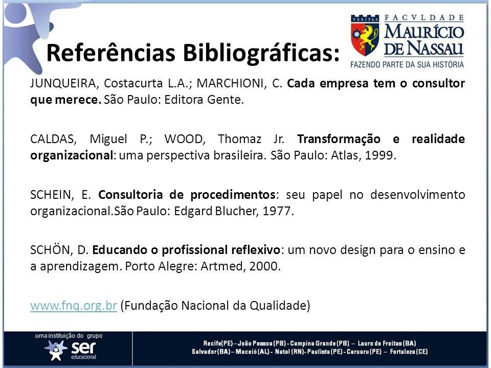 Referências Bibliográficas: JUNQUEIRA, Costacurta L.A.; MARCHIONI, C. Cada empresa tem o consultor que merece. São Paulo: Editora Gente. CALDAS, Migue