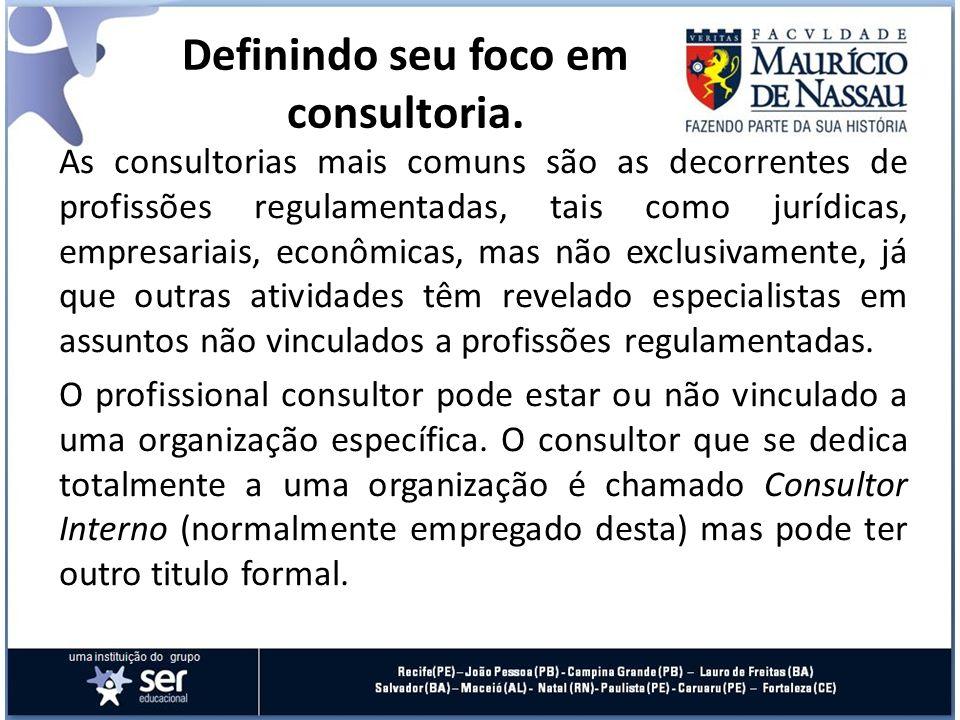 As consultorias mais comuns são as decorrentes de profissões regulamentadas, tais como jurídicas, empresariais, econômicas, mas não exclusivamente, já