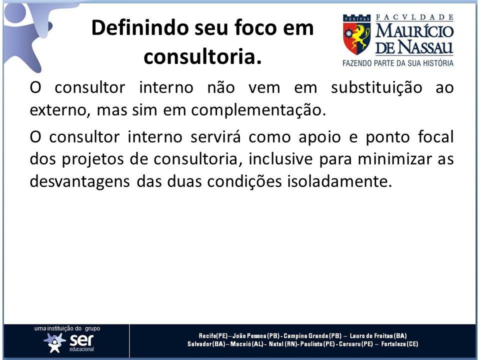O consultor interno não vem em substituição ao externo, mas sim em complementação. O consultor interno servirá como apoio e ponto focal dos projetos d