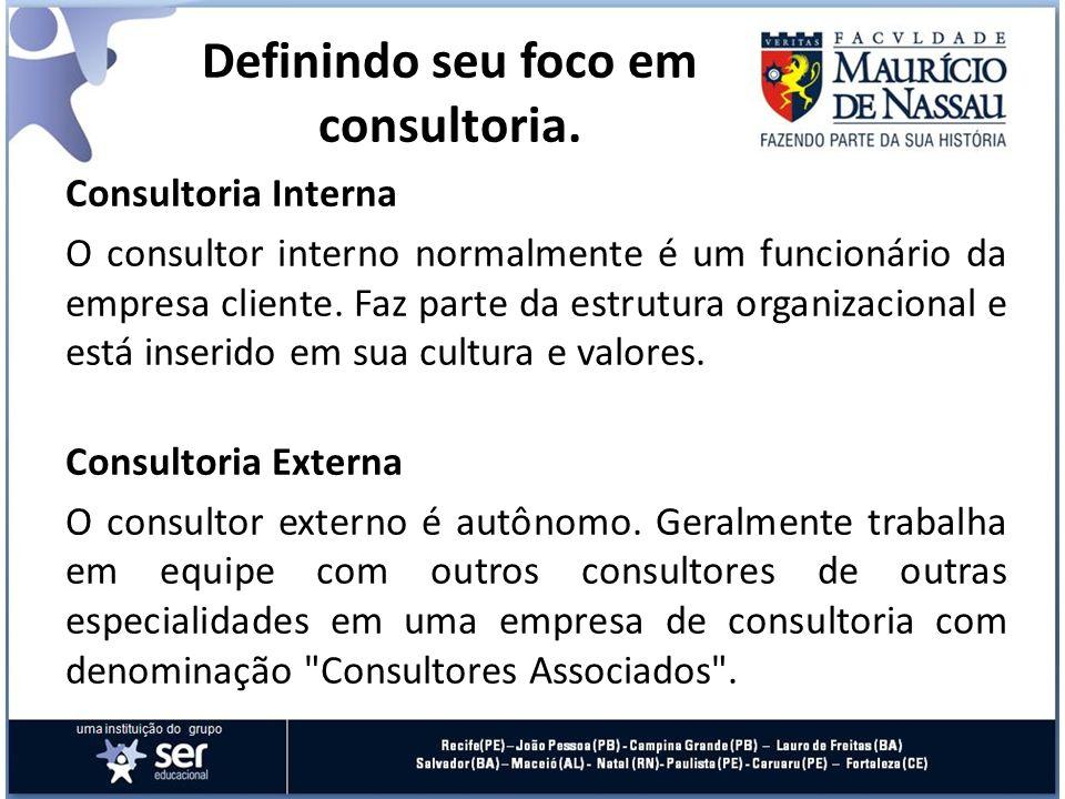 Estrutura A consultoria também pode vir a ser categorizada de acordo com sua estrutura, que é determinada e dividida por fatores como o grau de flexibilidade, a metodologia, a adequação à realidade do cliente, o tempo para contratação e o nível de aceitação.