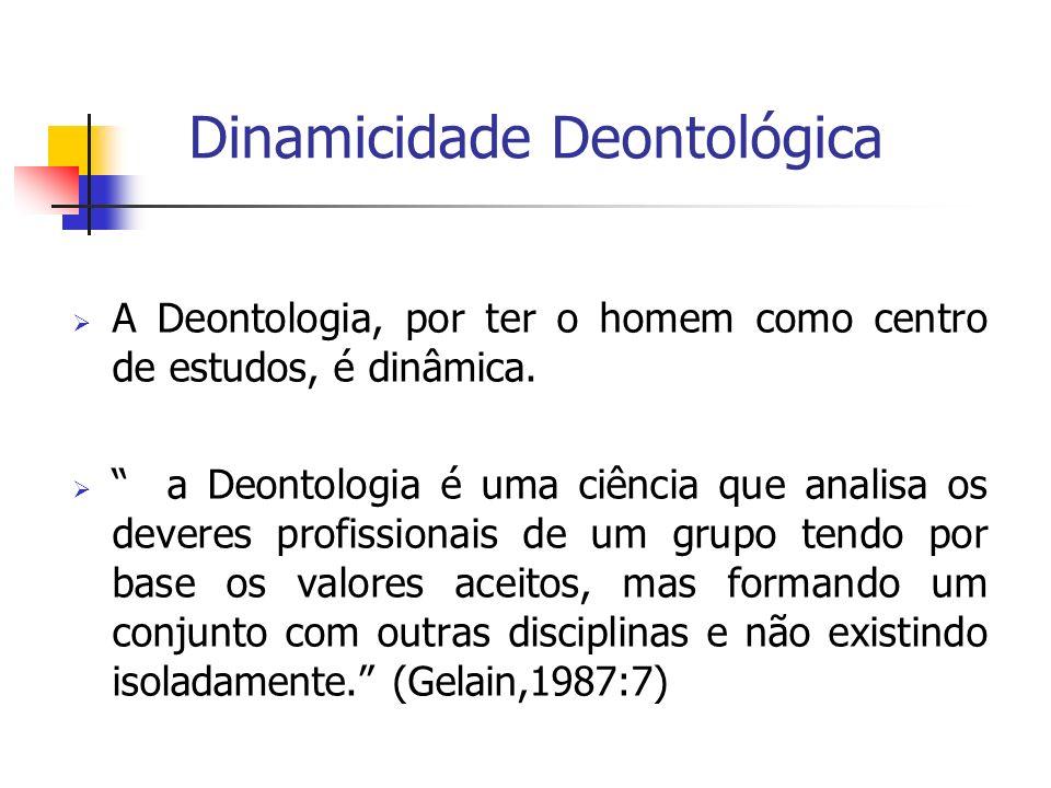 Dinamicidade Deontológica A Deontologia, por ter o homem como centro de estudos, é dinâmica. a Deontologia é uma ciência que analisa os deveres profis