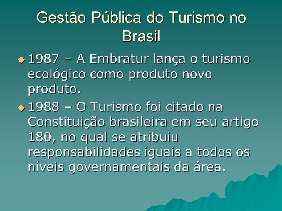 Gestão Pública do Turismo no Brasil 1987 – A Embratur lança o turismo ecológico como produto novo produto. 1987 – A Embratur lança o turismo ecológico