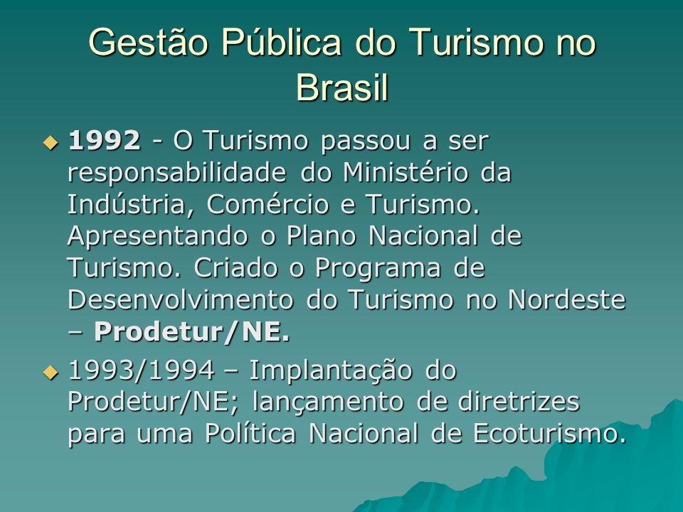 Gestão Pública do Turismo no Brasil 1992 - O Turismo passou a ser responsabilidade do Ministério da Indústria, Comércio e Turismo. Apresentando o Plan