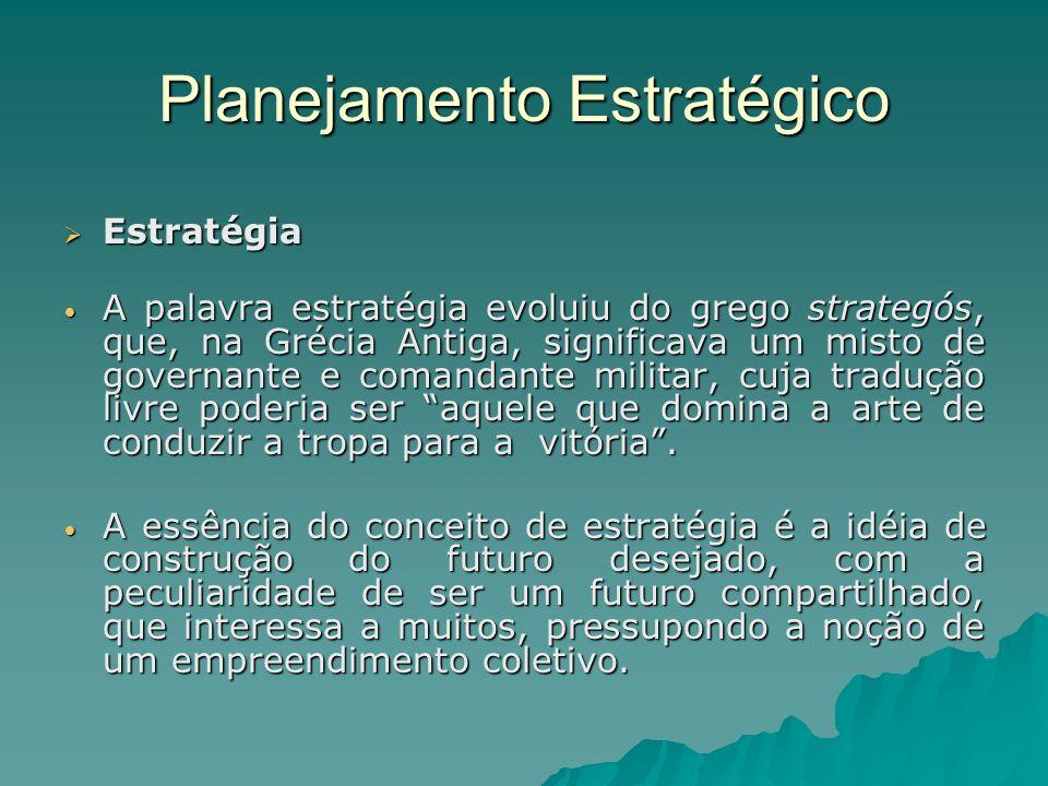 Planejamento Estratégico Estratégia Estratégia A palavra estratégia evoluiu do grego strategós, que, na Grécia Antiga, significava um misto de governa