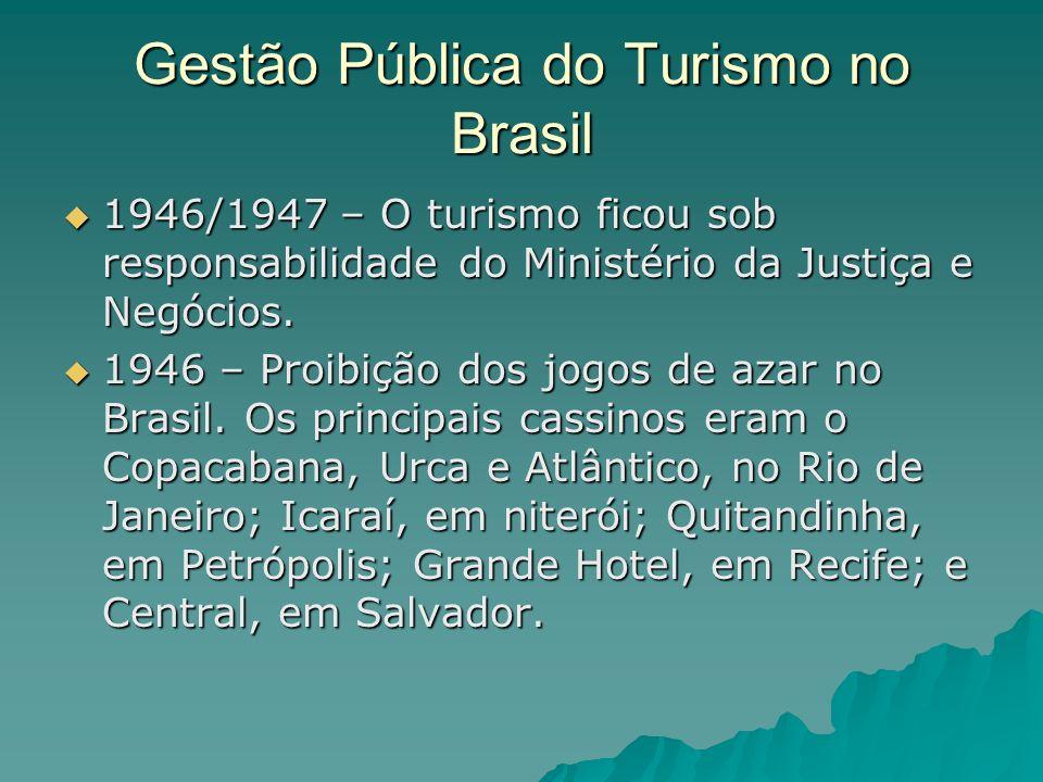 Gestão Pública do Turismo no Brasil 1946/1947 – O turismo ficou sob responsabilidade do Ministério da Justiça e Negócios. 1946/1947 – O turismo ficou