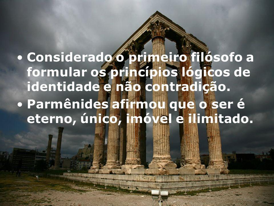 Para Parmênides, o caminho da essência é: Existe o ser, e não é concebível sua não existência.
