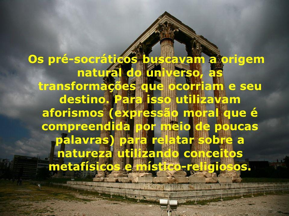 O período pré-socrático Envolve o conjunto de reflexões filosóficas desenvolvida desde Tales de Mileto (623 - 546 a.
