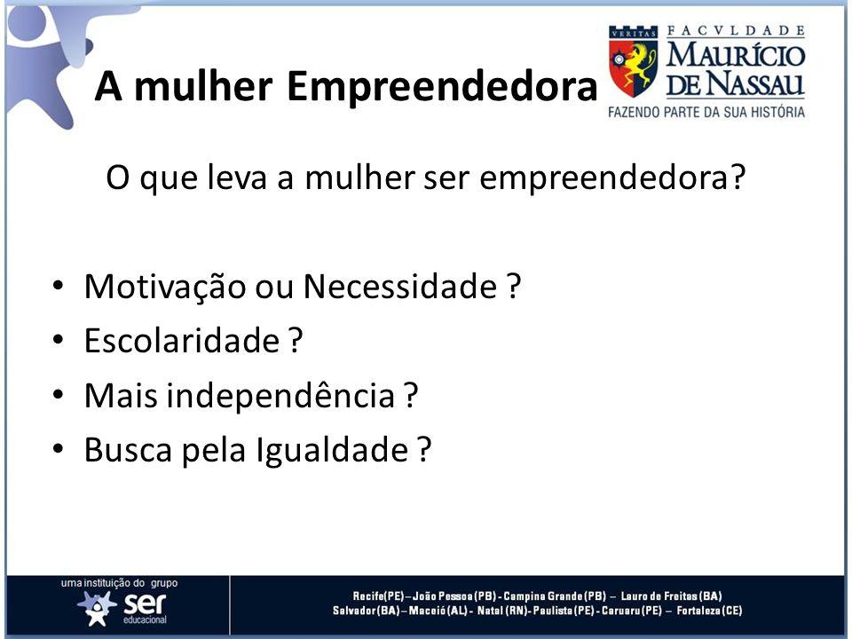O que leva a mulher ser empreendedora? Motivação ou Necessidade ? Escolaridade ? Mais independência ? Busca pela Igualdade ? A mulher Empreendedora
