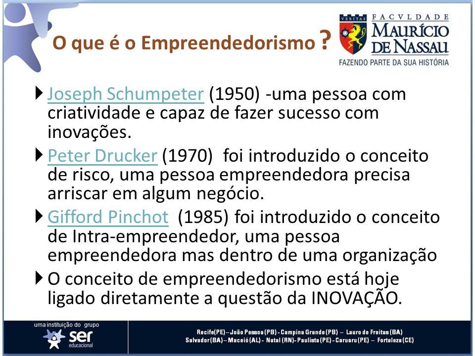 Joseph Schumpeter (1950) -uma pessoa com criatividade e capaz de fazer sucesso com inovações. Joseph Schumpeter Peter Drucker (1970) foi introduzido o