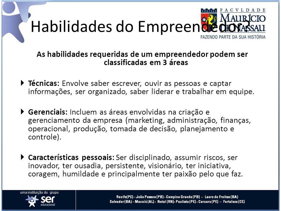As habilidades requeridas de um empreendedor podem ser classificadas em 3 áreas Técnicas: Envolve saber escrever, ouvir as pessoas e captar informaçõe