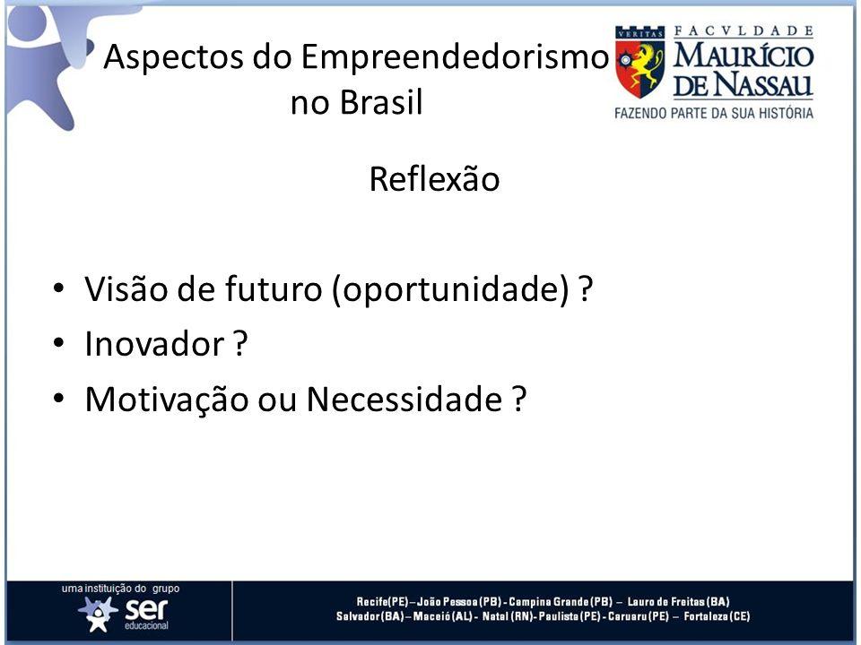 Reflexão Visão de futuro (oportunidade) ? Inovador ? Motivação ou Necessidade ? Aspectos do Empreendedorismo no Brasil