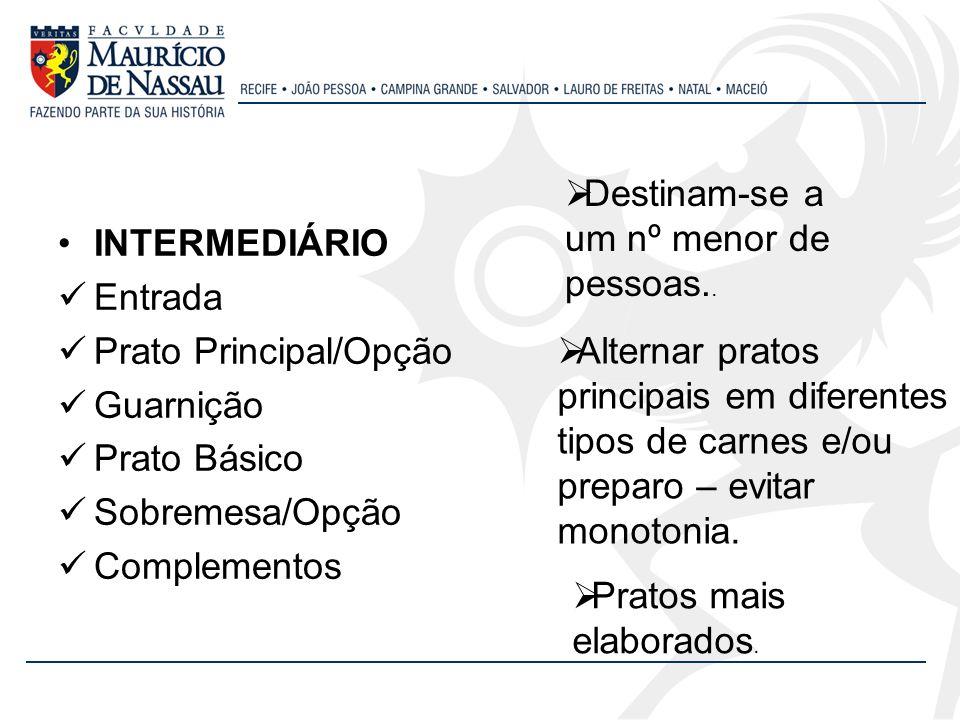 INTERMEDIÁRIO Entrada Prato Principal/Opção Guarnição Prato Básico Sobremesa/Opção Complementos Destinam-se a um nº menor de pessoas.. Alternar pratos