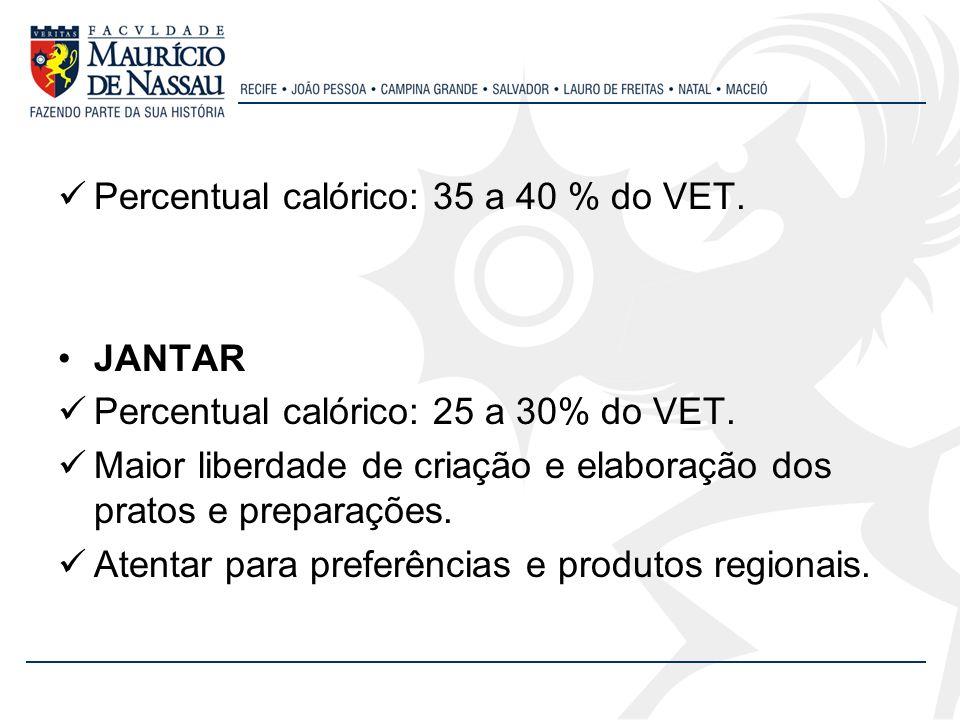 Percentual calórico: 35 a 40 % do VET. JANTAR Percentual calórico: 25 a 30% do VET. Maior liberdade de criação e elaboração dos pratos e preparações.