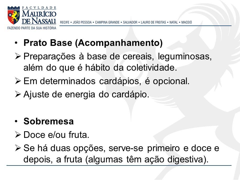 Prato Base (Acompanhamento) Preparações à base de cereais, leguminosas, além do que é hábito da coletividade. Em determinados cardápios, é opcional. A