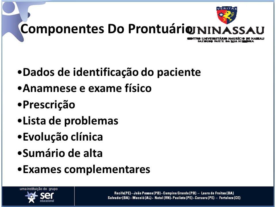 Componentes Do Prontuário Dados de identificação do paciente Anamnese e exame físico Prescrição Lista de problemas Evolução clínica Sumário de alta Ex